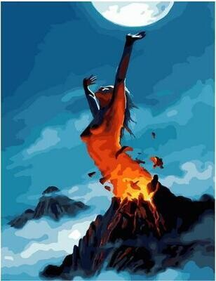 Картина по номерам Paintboy PK 11418 Вулкан при лунном свете 40х50см