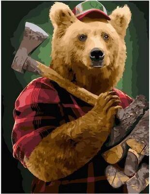 Картина по номерам Paintboy PK 11515 Люмберджек медведь 40х50см