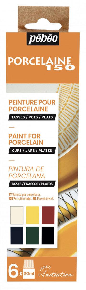 """""""PEBEO"""" Набор красок Porcelaine 150 """"Открытие"""" по фарфору и керамике под обжиг 6 цв. 20 мл, цвет 756471 №1 глянцевые"""