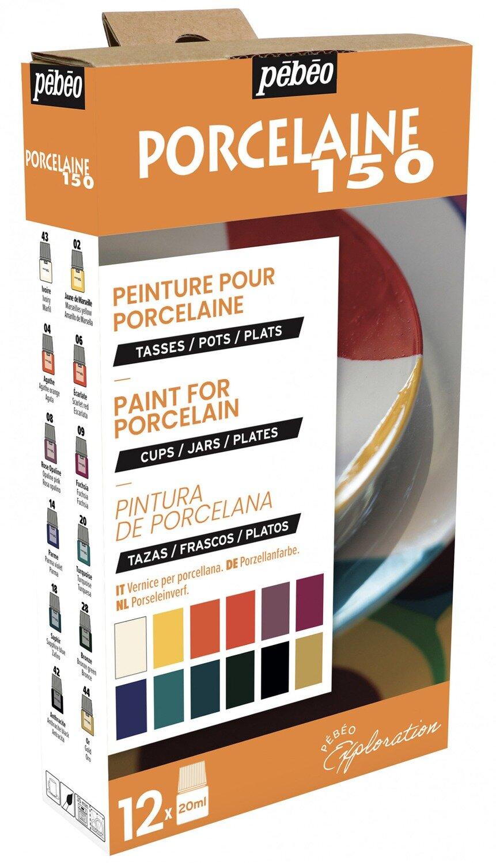 """""""PEBEO"""" Набор красок Porcelaine 150 """"Исследование"""" по фарфору и керамике под обжиг 12 цв. 20 мл, цвет 757471 глянцевые №1"""