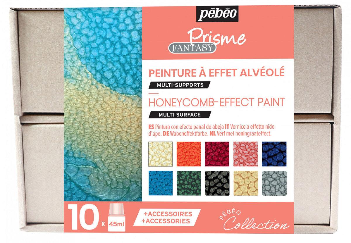 """""""PEBEO"""" Набор красок Fantasy Prisme """"Коллекция"""" с фактурным эффектом с аксессуарами 10 цв. 45 мл, цвет 758431"""
