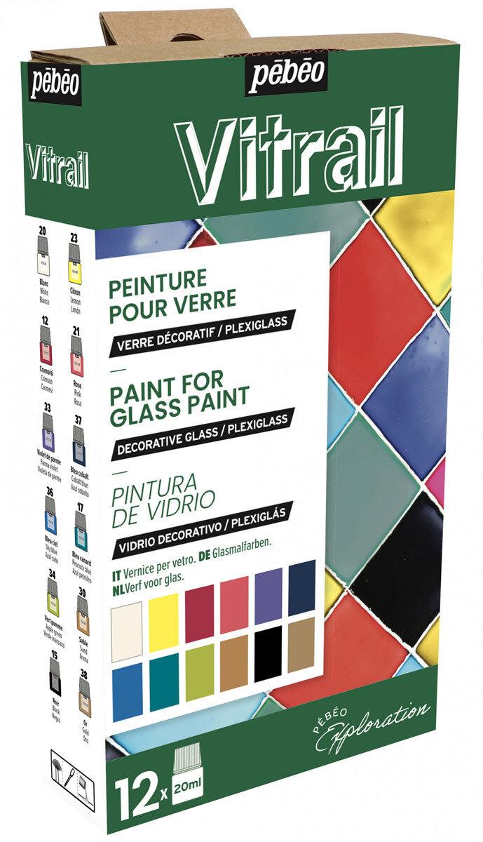 """""""PEBEO"""" Набор красок Vitrail """"Исследование"""" по стеклу и металлу 12 цв. 20 мл, цвет 757421"""