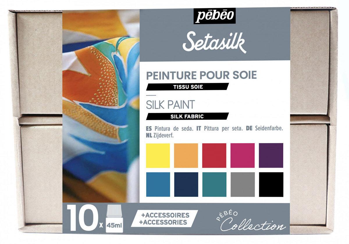 """""""PEBEO"""" Набор красок Setasilk """"Коллекция"""" по шелку с аксессуарами 10 цв. 45 мл, цвет 758485"""