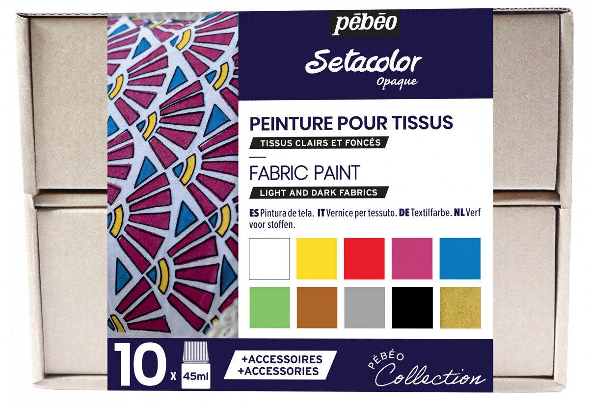"""""""PEBEO"""" Набор красок Setacolor Opaque """"Коллекция"""" для темных и светлых тканей с аксессуарами 10 цв. 45 мл, цвет 758481 №1"""