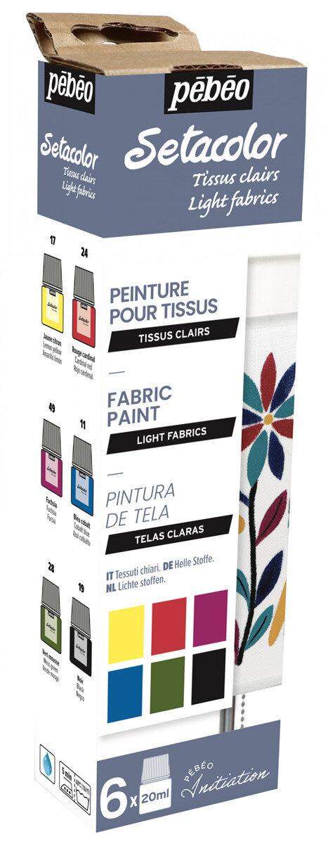 """""""PEBEO"""" Набор красок Setacolor Light Fabrics """"Открытие"""" для светлых тканей 6 цв. 20 мл, цвет 756482"""
