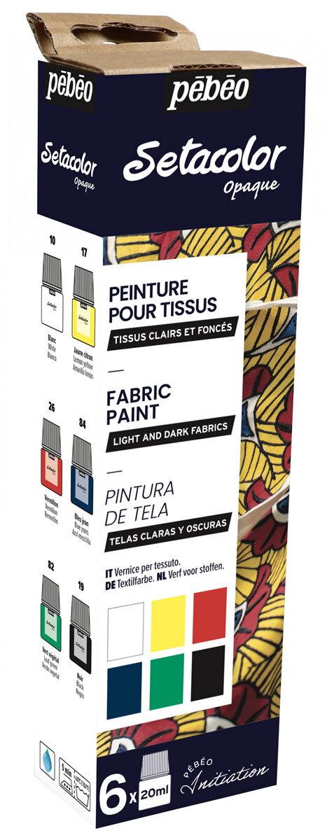 """""""PEBEO"""" Набор красок Setacolor Opaque """"Открытие"""" для темных и светлых тканей 6 цв. 20 мл, цвет 756481"""