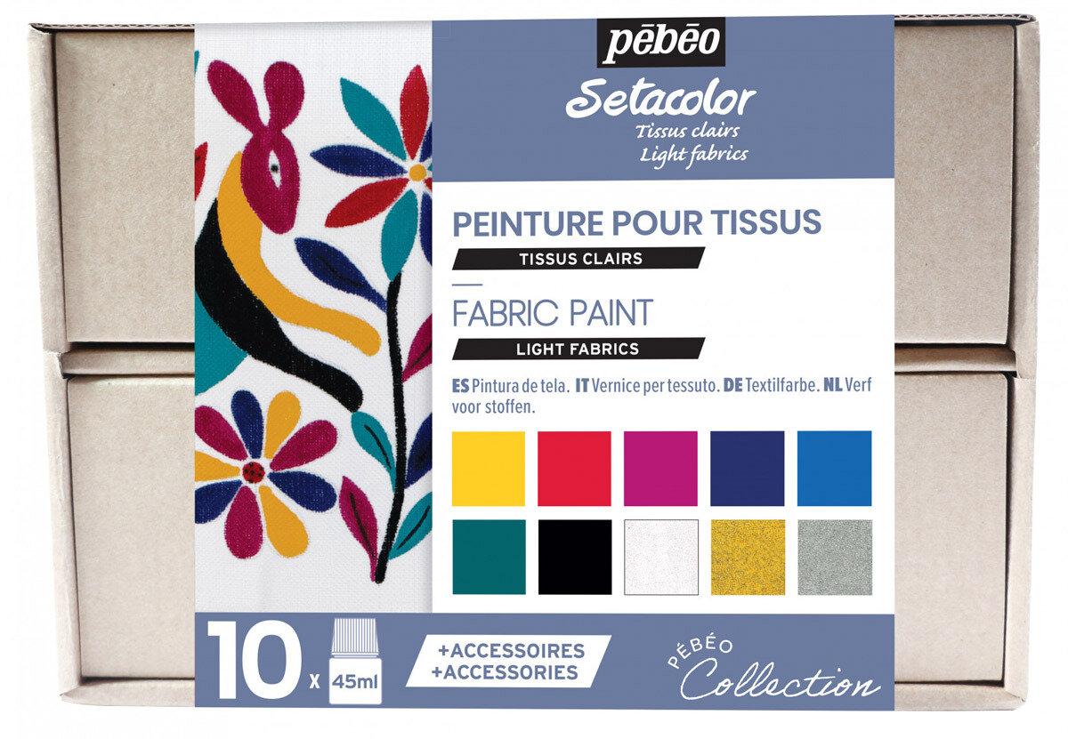 """""""PEBEO"""" Набор красок Setacolor Light Fabrics """"Коллекция"""" для светлых тканей с аксессуарами 10 цв. 45 мл, цвет 758483"""