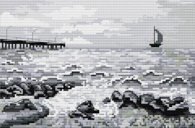 """Набор для вышивания крестиком ЧУДО-ХОЛСТ """"Воспоминания о море"""" 22х14 см"""