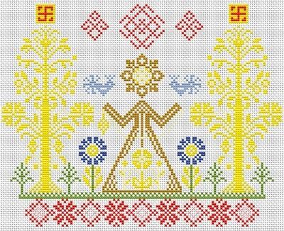 """Набор для вышивания крестиком ЧУДО-ХОЛСТ """"Оберег Макошь"""" 24х19 см"""