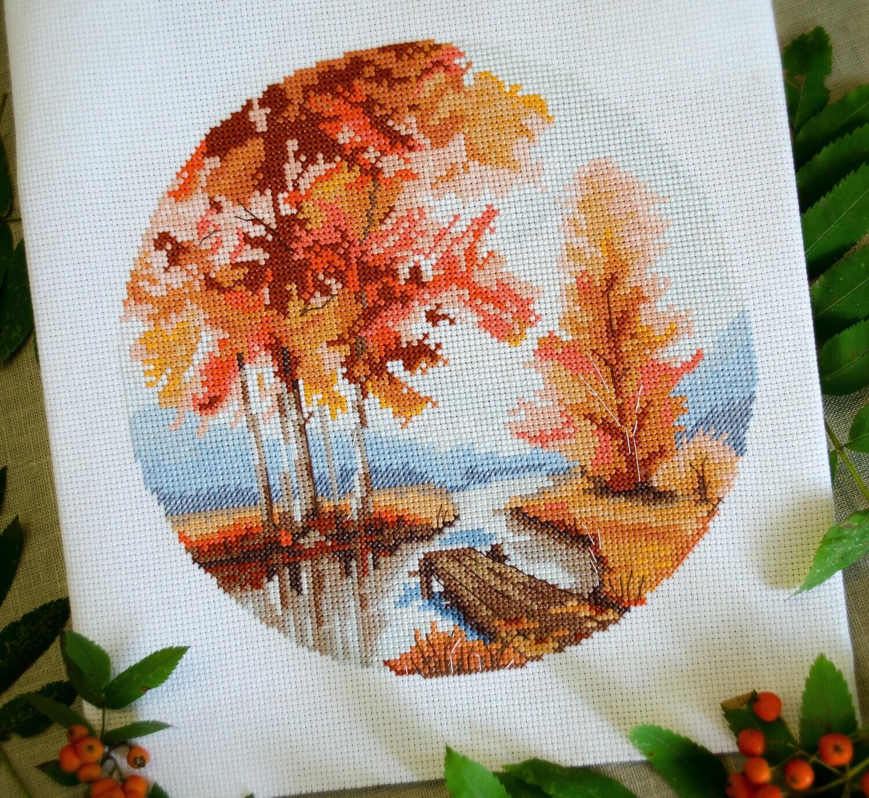 """Набор для вышивания """"Чудо-Холст"""" Осенний пейзаж 20х20см"""