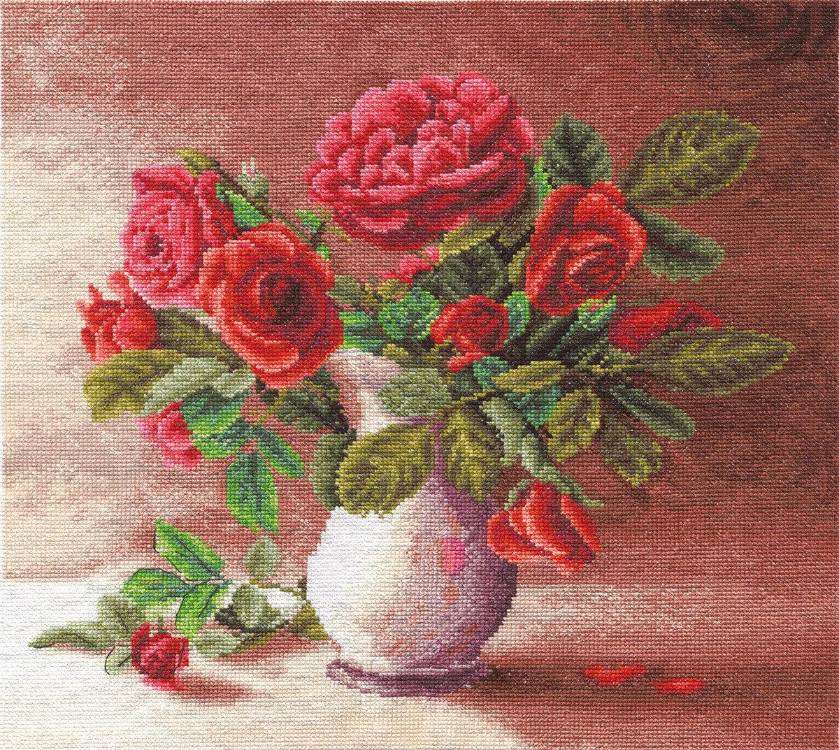 """Набор для вышивания """"PANNA"""" C-1153 ( Ц-1153 ) """"Красные розы в белом кувшине"""""""