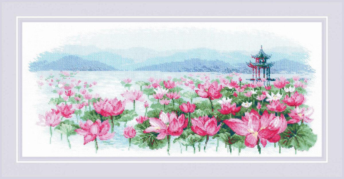 """Набор для вышивания """"RIOLIS"""" """"Сотвори Сама"""" 1869 """"Поле лотосов. Пагода на воде"""""""