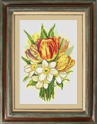 """Набор для вышивания крестиком ЧУДО-ХОЛСТ """"Букет цветов"""" 15х23 см"""