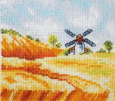 """Набор для вышивания крестиком ЧУДО-ХОЛСТ """"Ржаное поле"""" 13х12 см"""
