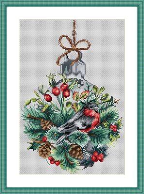 """Набор для вышивания крестиком ЧУДО-ХОЛСТ """"Новогодняя игрушка"""" 20х30 см"""