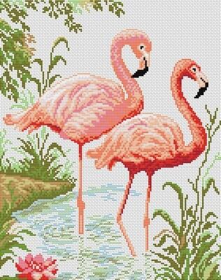 "Набор для вышивания крестиком ЧУДО-ХОЛСТ ""Фламинго"" 25х32 см"