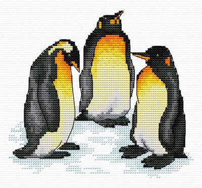 """Набор для вышивания крестиком ЧУДО-ХОЛСТ """"Пингвины"""" 15х14 см"""