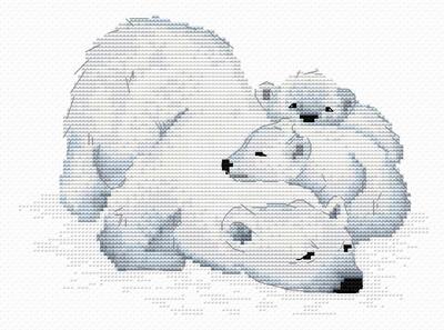 """Набор для вышивания крестиком ЧУДО-ХОЛСТ """"Семья медведей"""" 20х15 см"""