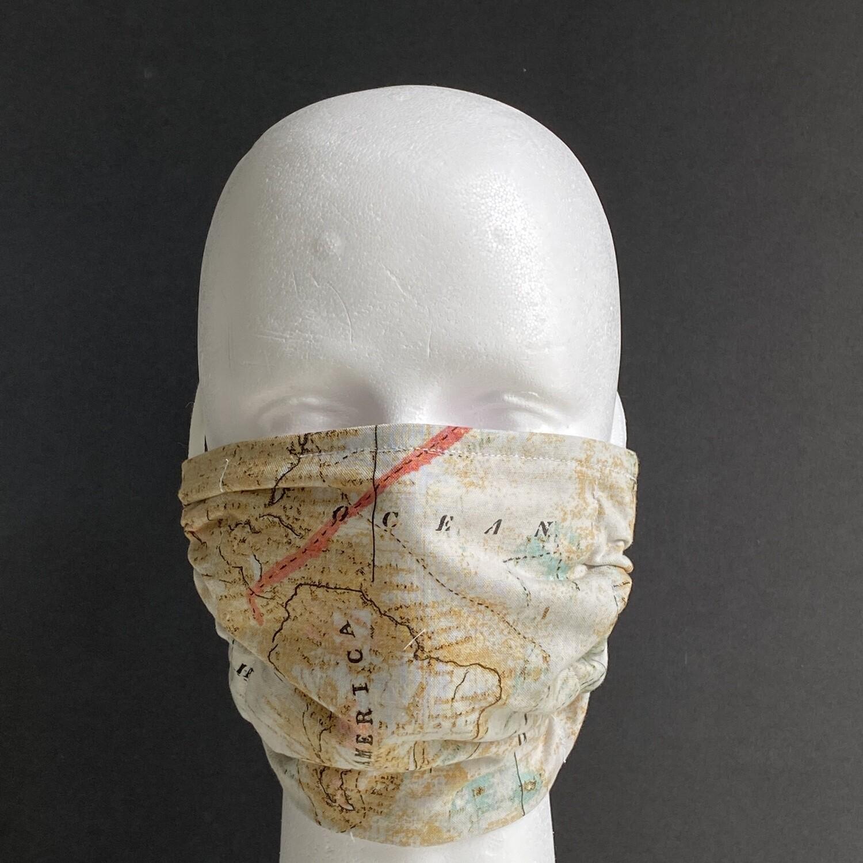 Vintage World Map Travel Reusable Cloth Face Mask