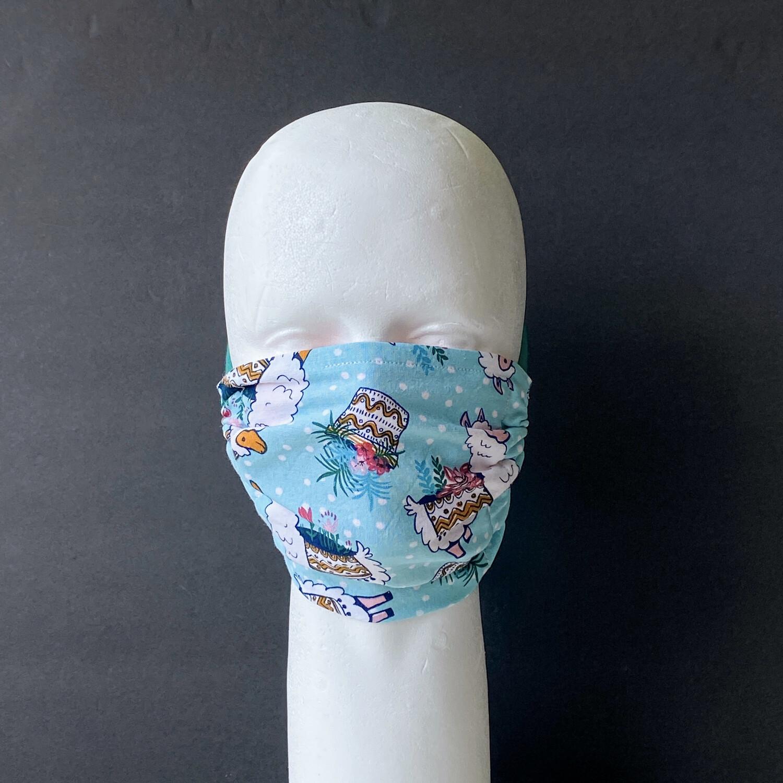 Llamas and Plants Adjustable Reusable Cloth Face Mask