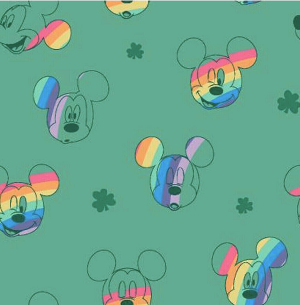 EasyFit Disney Rainbow Mickey Mouse on Green Reusable Cloth Face Mask