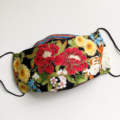 EasyFit Asian Inspired Red Floral on Black Reusable Cloth Face Mask