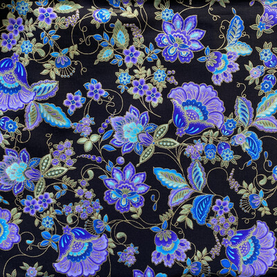 EasyFit Purple Floral on Black Reusable Cloth Face Mask