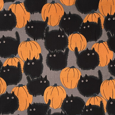 EasyFit Halloween Cats And Orange Pumpkins Reusable Cloth Face Mask