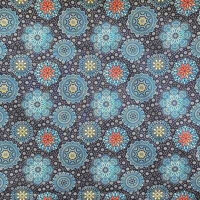 EasyFit Floral Print Teal Flowers and Mandalas on Dark Navy Reusable Cloth Face Mask