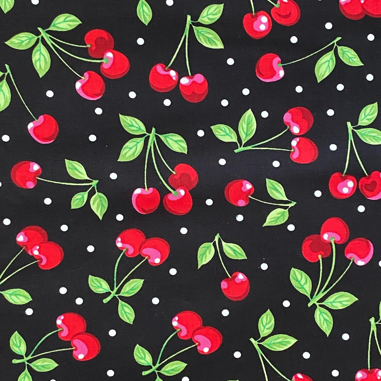 EasyFit Cherries on Black Reusable Cloth Face Mask