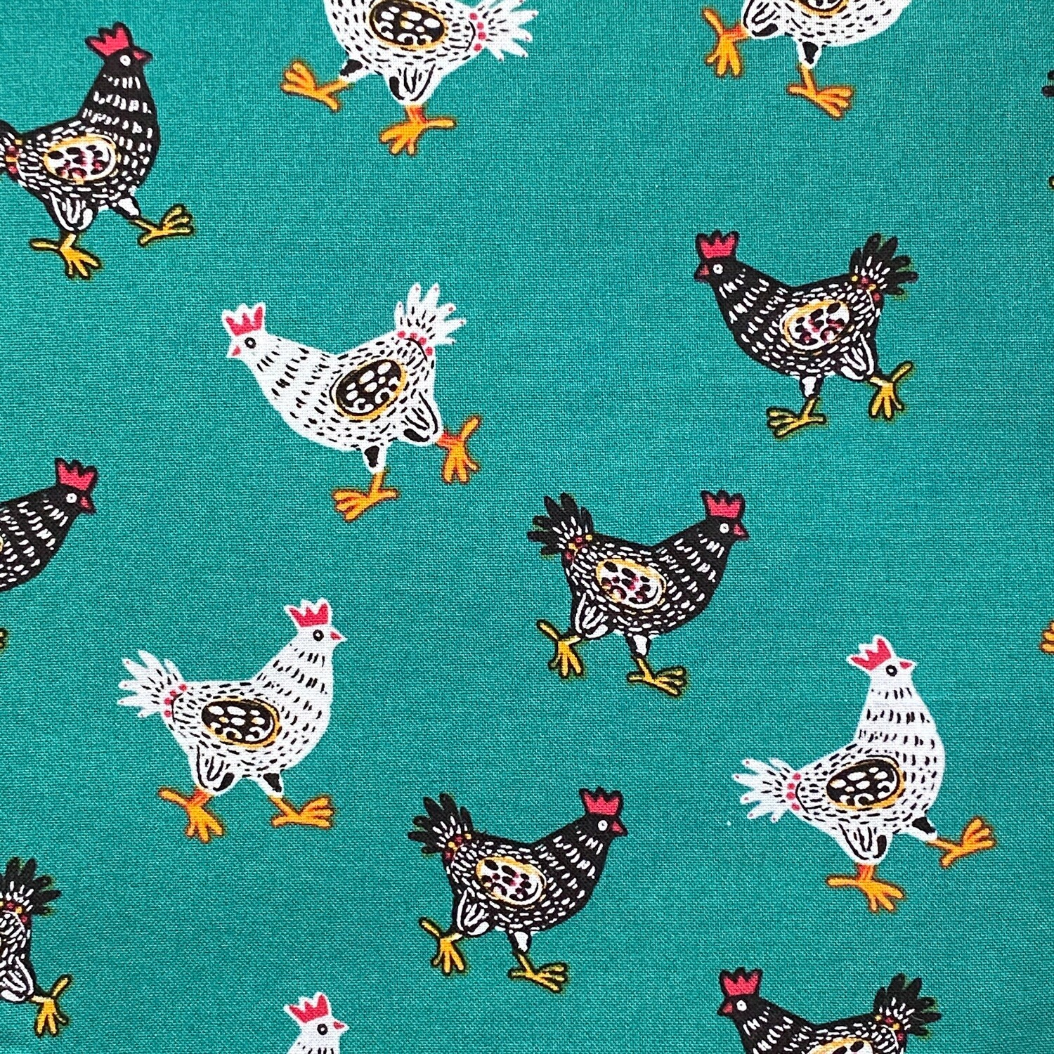 EasyFit Chickens on Dark Teal Reusable Cloth Face Mask