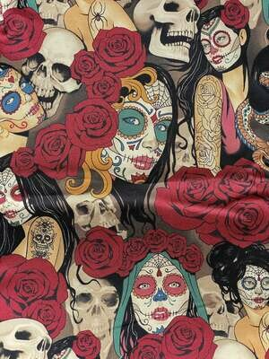 EasyFit Alexander Henry Nocturna Tattoo Sugar Skull Girls Reusable Cloth Face Mask