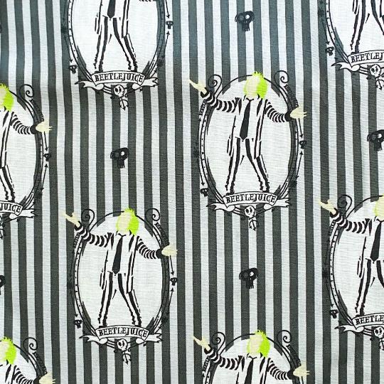 EasyFit Beetlejuice Tim Burton Movie Gray Pinstripes Reusable Cloth Face Mask