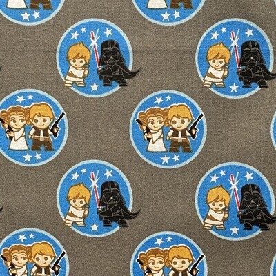 EasyFit Star Wars Kawaii Duos on Gray Reusable Cloth Face Mask