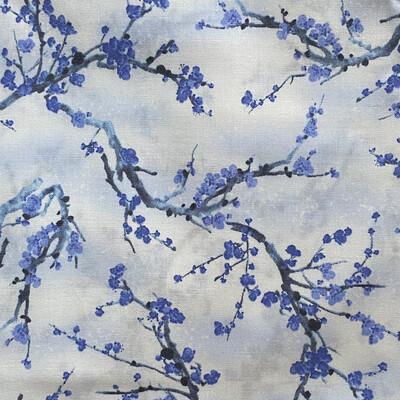 EasyFit Blue Cherry Blossoms Floral on Black Reusable Cloth Face Mask