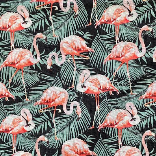 EasyFit Flamingos on Black Tropical Leaves Reusable Cloth Face Mask