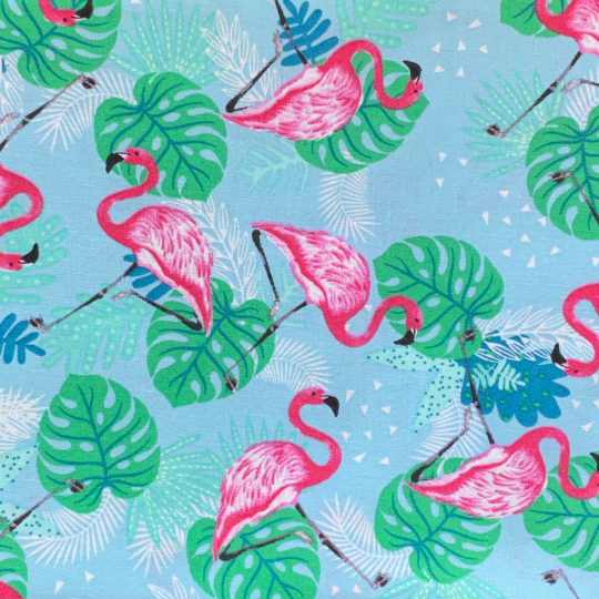 EasyFit Tropical Flamingos on Blue Reusable Cloth Face Mask