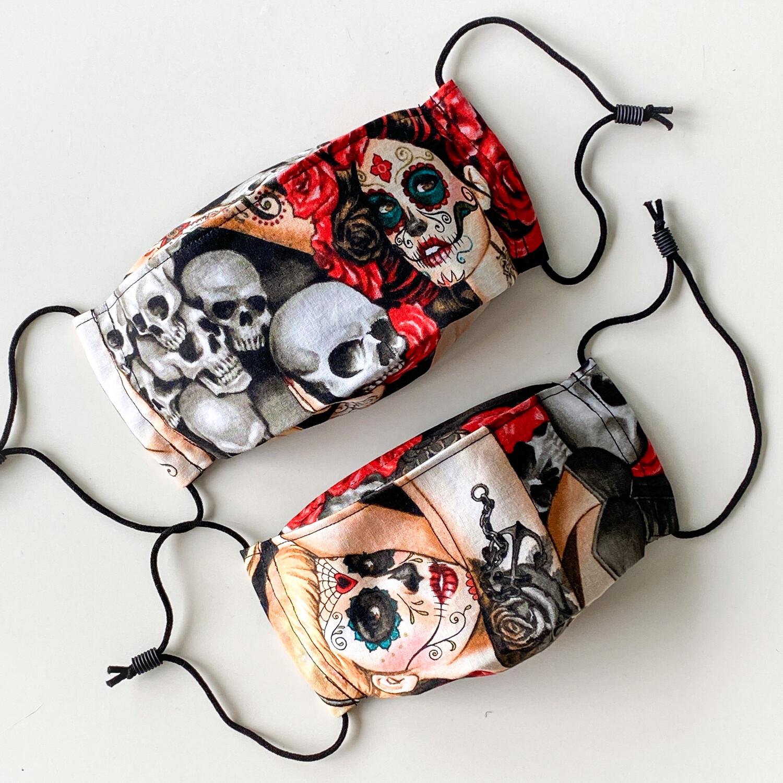 EasyFit Alexander Henry Las Elegantes Tattoo Sugar Skull Girls Reusable Cloth Face Mask