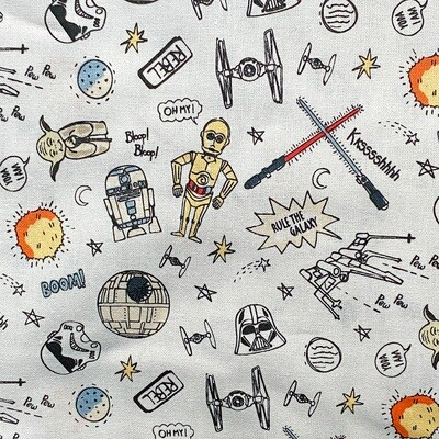 EasyFit Star Wars Doodles on White Reusable Cloth Face Mask