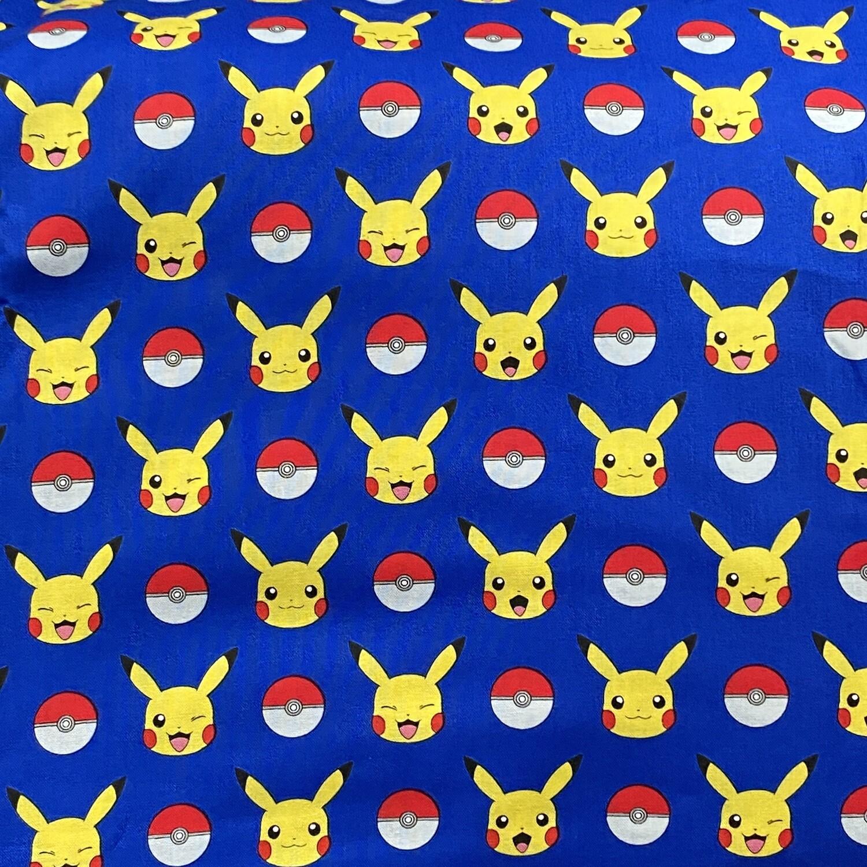 EasyFit Pokemon Pikachu and Pokeballs on Blue Reusable Cloth Face Mask