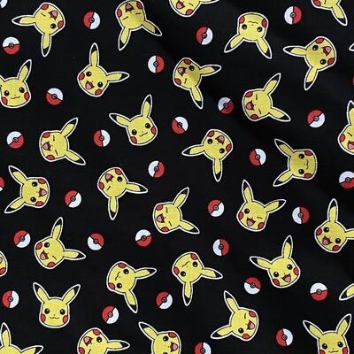 EasyFit Pokemon Pikachu and Pokeballs on Black Reusable Cloth Face Mask