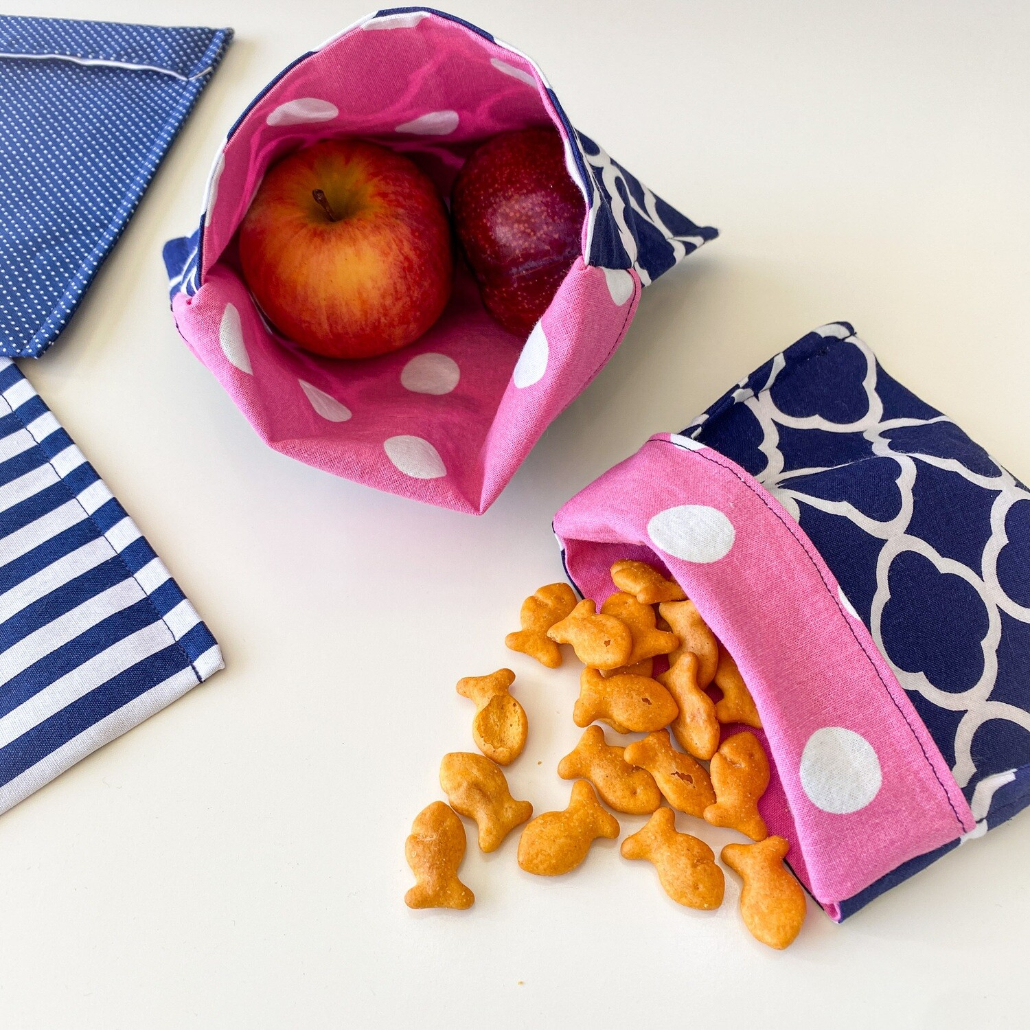 Washable Reusable Snack Bag, Storage Pouch with Easy Fold-Over Top ECO-FRIENDLY