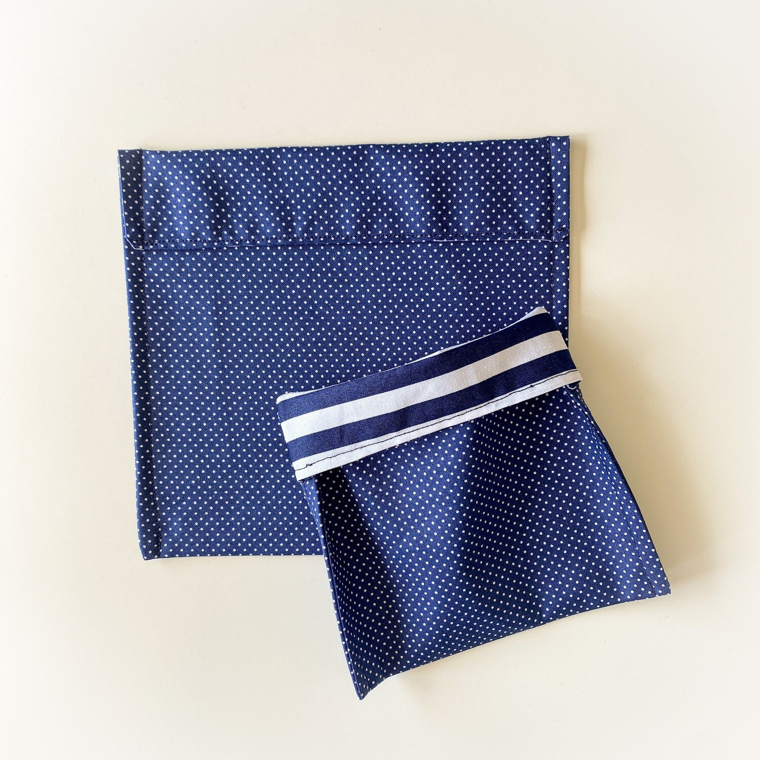 Blue Polka Dot Washable Reusable Snack Bag, Storage Pouch with Easy Fold-Over Top ECO-FRIENDLY