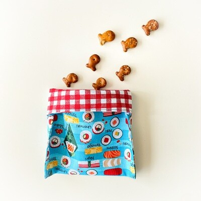 Sushi Washable Reusable Snack Bag, Storage Pouch with Easy Fold-Over Top ECO-FRIENDLY
