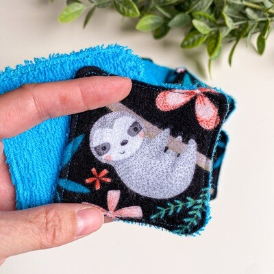 Black Sloth Washable Reusable Face Pads, Makeup, Cloth Wipes 100% Cotton, Eco-friendly, Zero Waste
