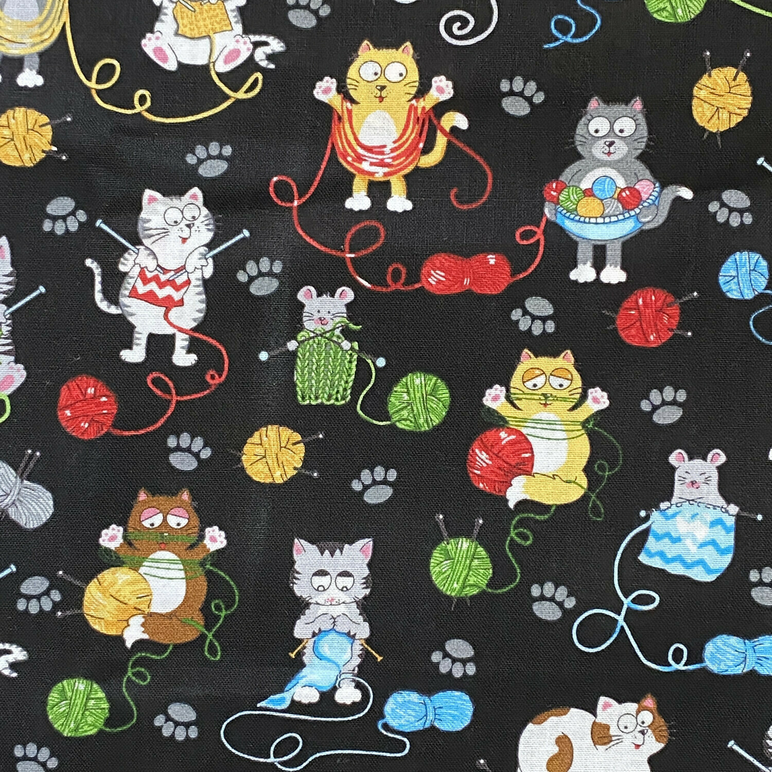 Knitting Cats on Black Reusable Cloth Face Mask