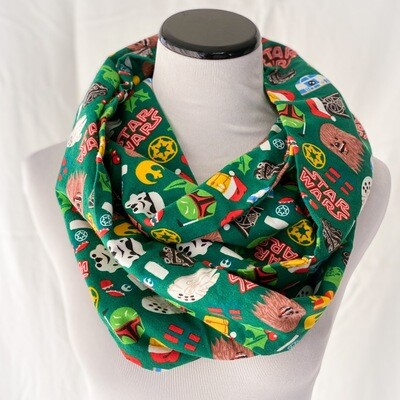 Star Wars Holiday Christmas Cozy Flannel Infinity Scarf