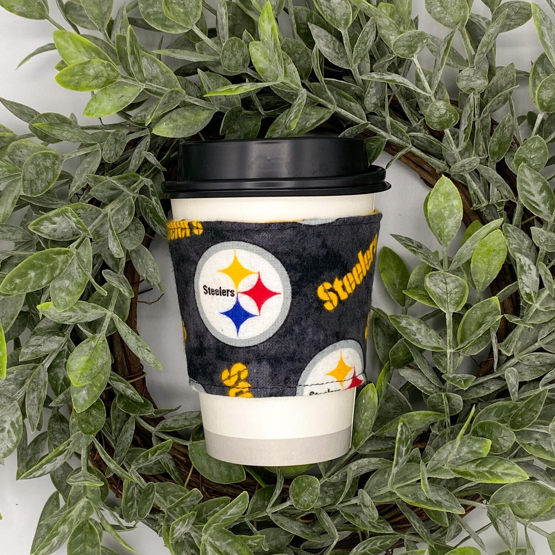 Pittsburgh Steelers NFL Football Tea & Coffee Sleeve, Cup Cozy, Reversible, Reusable