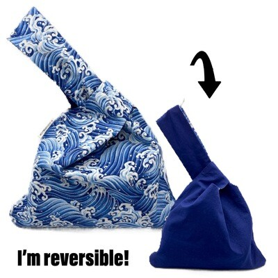 Blue Waves Handmade Japanese Knot Bag Purse (Reversible - 3 sizes)