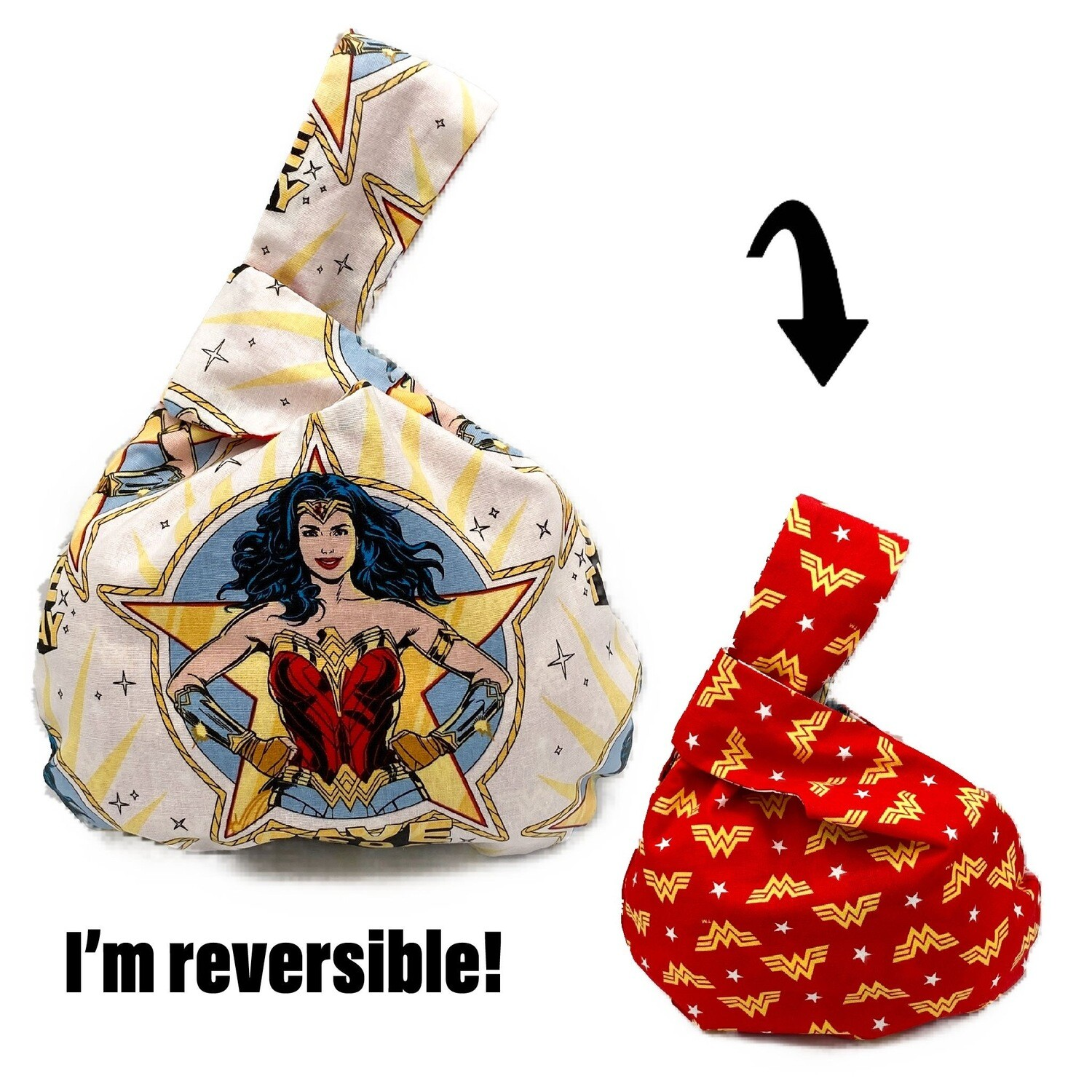 DC Comics Wonder Woman Handmade Japanese Knot Bag Purse (Reversible - 3 sizes)